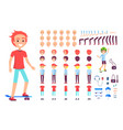 cheerful teenager on skateboard poster vector image vector image