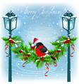 Christmas lanterns with decorative garland vector image