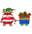 Christmas theme with monster and presents vector image vector image
