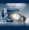 classic man watch and gift box realistic vector image vector image
