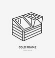 cold frame flat line icon greenhouse sign thin vector image vector image