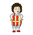 comic cartoon woman in kitchen apron vector image