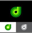 d letter monogram like green drop vector image