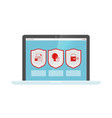 data protection web security shields on laptop vector image vector image