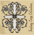 fantasy cross with floral pattern vector image vector image