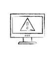 figure caution emblem alert inside computer vector image vector image