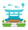 flat design meiji shrine tokyo vector image vector image