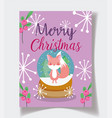 fox in crystal ball snowflakes celebration merry vector image