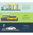 gas station bus stop parking lot vector image vector image
