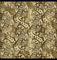 gold geometric greek 3d seamless pattern vector image vector image