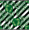hibiscus green palm leaves seamless black white vector image vector image