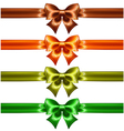 Holiday bows with glitter and ribbons vector image vector image