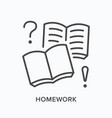 homework workbook flat line icon outline vector image