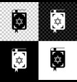 jewish torah book icon isolated on black white vector image