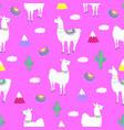 llama cactus mountains funny alpaca cartoon vector image vector image