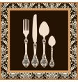 menu card design with cutlery vector image vector image