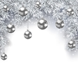 New Year Snowing Background with Silver Christmas vector image vector image