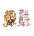overworked monkey in business pants and tie vector image