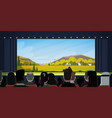 people sitting in cinema watching movie back rear vector image