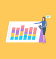 presentation on paper board infographics charts vector image vector image