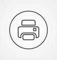 printer outline symbol dark on white background vector image vector image