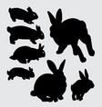 rabbit animal silhouette vector image vector image