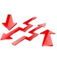 red arrow red indication arrows down arrows vector image vector image