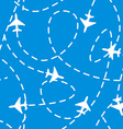 Seamless Pattern with Airplanes in the Sky vector image vector image