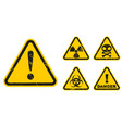 set grunge danger signs isolated on white vector image vector image