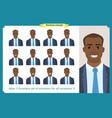 set male facial emotionsblack business man vector image vector image