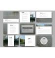 Set of 9 templates for presentation slides Park vector image vector image