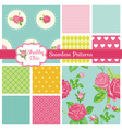 Set of Floral Seamless Patterns and Backgrounds vector image vector image