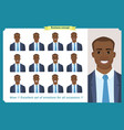 set of male facial emotionsblack business man vector image vector image