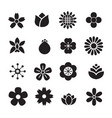 silhouette flower icons vector image vector image