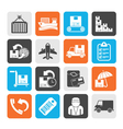 Silhouette shipping and delivery icons vector image vector image