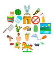summer trip icons set cartoon style vector image vector image