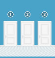 three doors with numbers vector image vector image