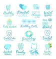 tooth dental logo dentist clinic lettering vector image