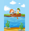 two kids row boat in river vector image vector image