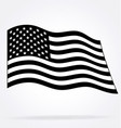 usa flag flying waving black and white vector image