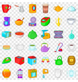 utensil icons set cartoon style vector image vector image