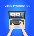 video production computer software on laptop vector image