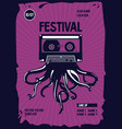 vintage music poster octopus tentacles and audio vector image vector image