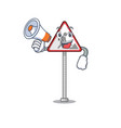 with megaphone road work sign cartoon shape vector image vector image