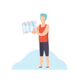 young man standing and pointing at location map vector image vector image