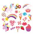 set of cute unicorns star vector image
