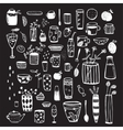 Dishware Doodles White on Black Sketchy Graphic vector image