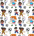 Seamless background with kids doing sports vector image
