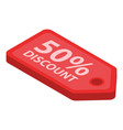 50 percent discount label icon isometric style vector image vector image