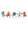 banner with people hurrying for a great christmas vector image vector image